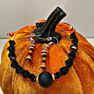 Halloween 🎃 braided macrame jewelry set